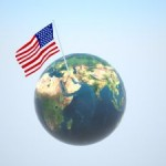 US flag flies over world 2 by Svilen Milev