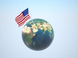 US flag flies over world 2 by Svilen Milev