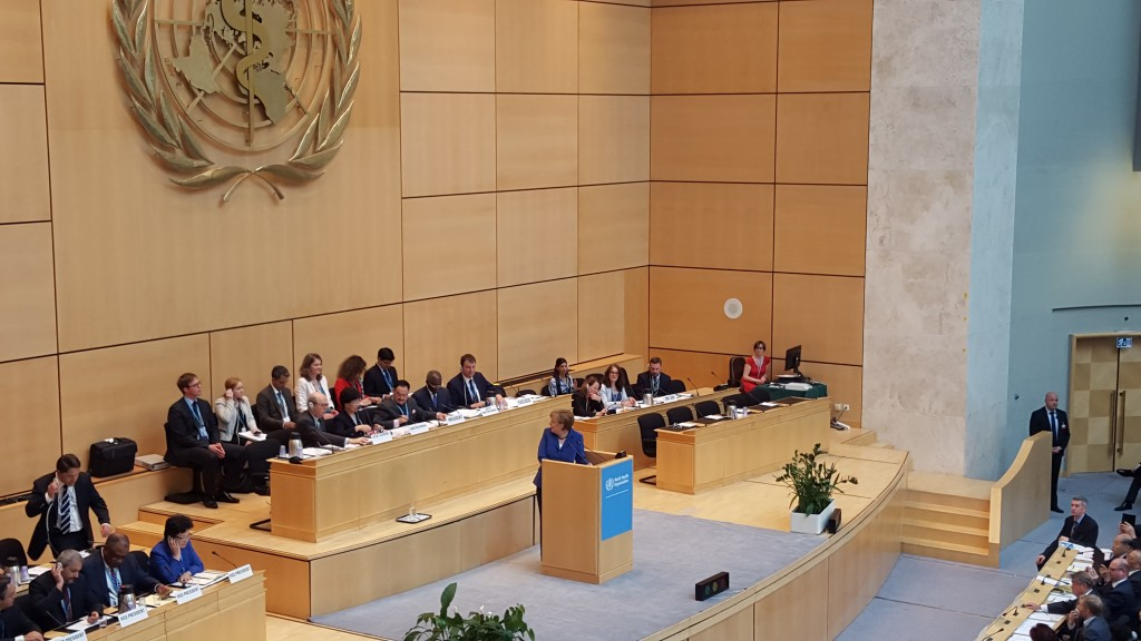 German Chancellor Angela Merkel speaks at WHA 68