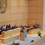 German Chancellor Angela Merkel speaks at WHA 68