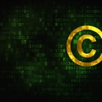 Law concept: pixelated Copyright icon on digital background, empty copyspace for card, text, advertising, 3d render