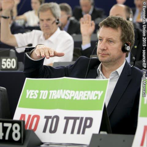 Yannick Jadot,  Greens/EFA, makes a point in Parliament vote today