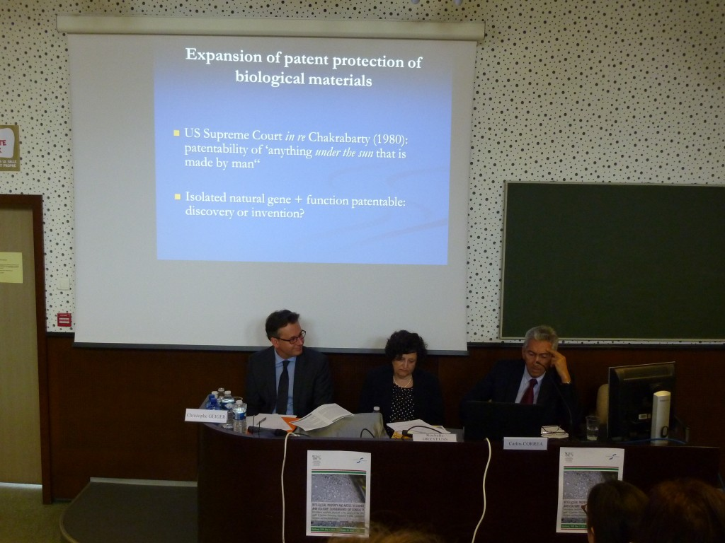 Christophe Geiger, Director General of CEIPI, Rochelle Dreyfuss, Professor at the New York University School of Law, and Carlos Correa, Professor at the University of Buenos Aires