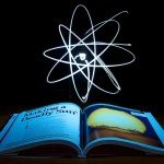 science atoms over book