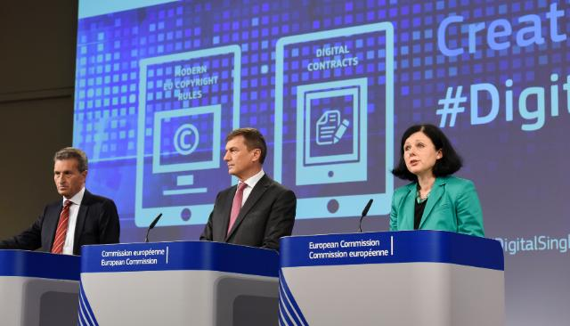 Günther Oettinger, Andrus Ansip and Vĕra Jourová (from left to right)