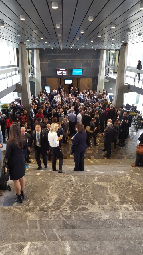 Global health policymakers mingle at WHO Executive Board coffee break