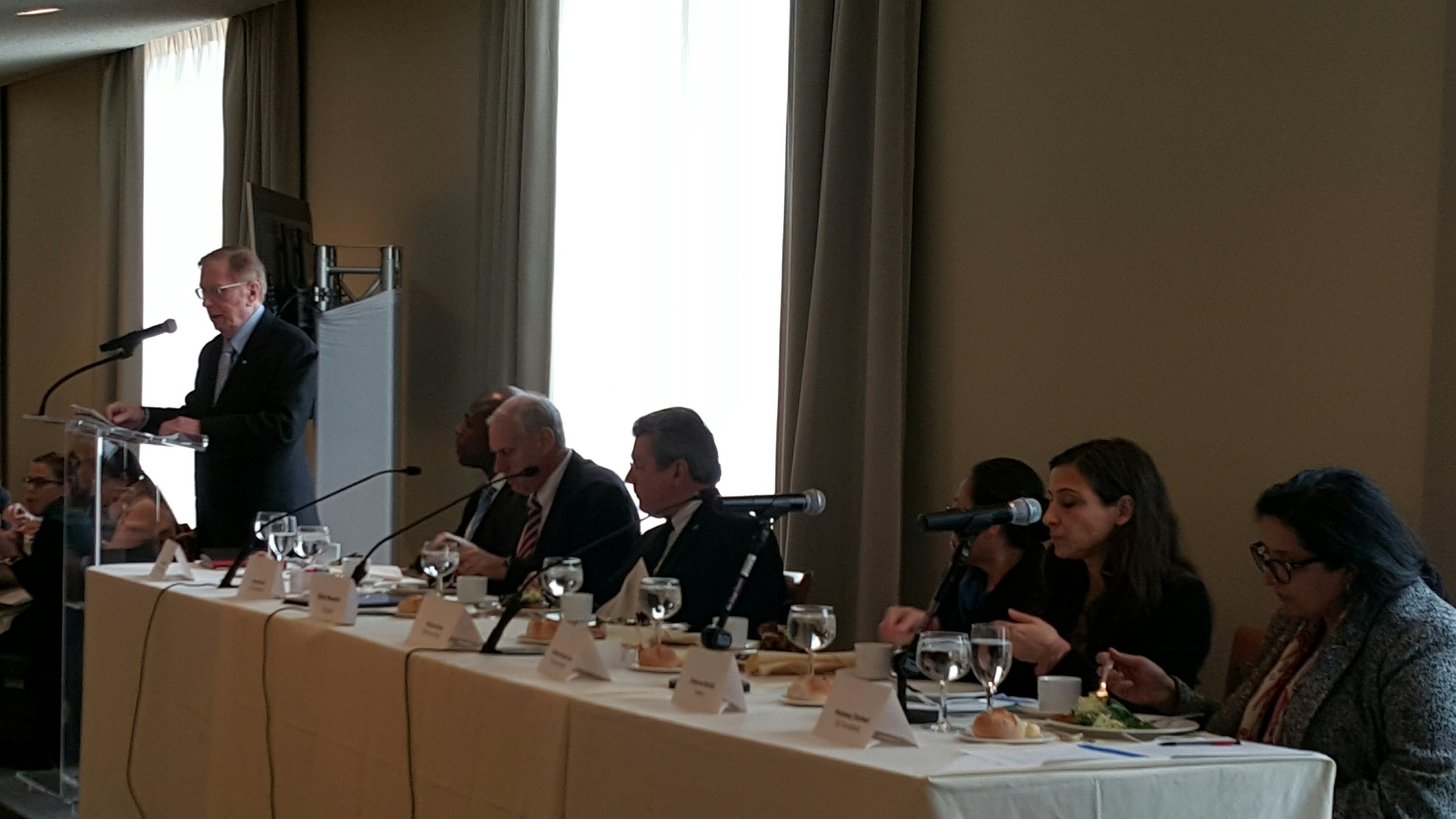 Justice Kirby speaks before panellists at the UN High-Level Panel on Access to Medicines luncheon yesterday