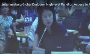 A speaker in Bangkok speaks on screen at Johannesburg dialogue