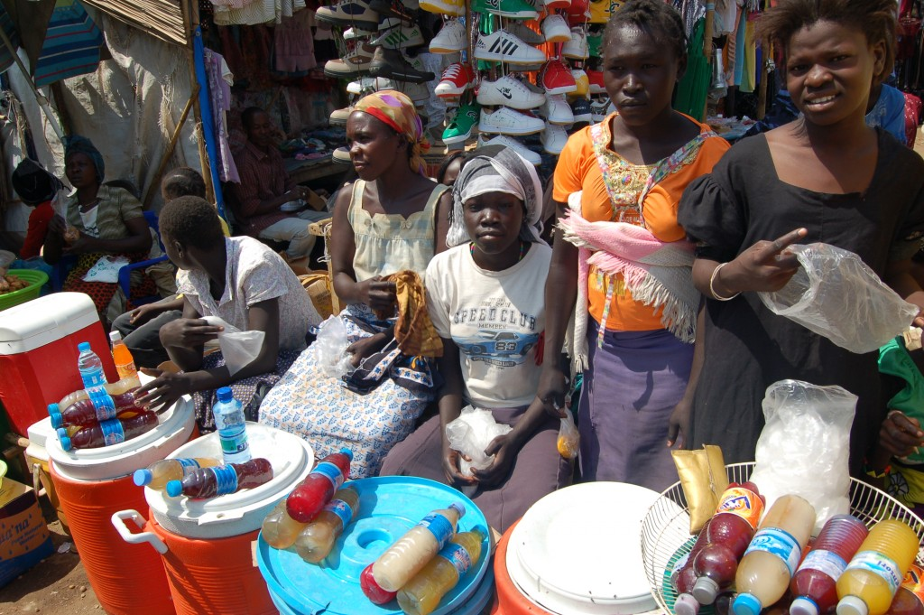 Women sell their merchandise in the South Sudanese capital city, Juba