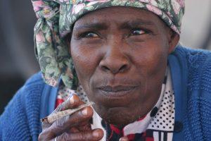 Nama Woman Smoking in the Kalahari Desert Namibia PHOTO by Luca Galuzzi 2004
